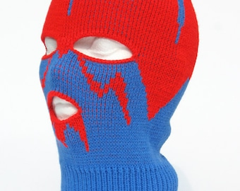 Knitted Blue and Red Ski Mask Tuque Convertible MIMIBOU