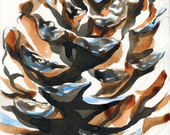 Watercolour Pine Cone Christmas Card