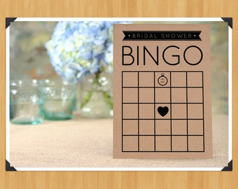 SALE - Printable Fill in the Blank Bridal Shower Bingo Game, 8 Cards in Set, DIY, Instant Download, Printable PDF, Black and White