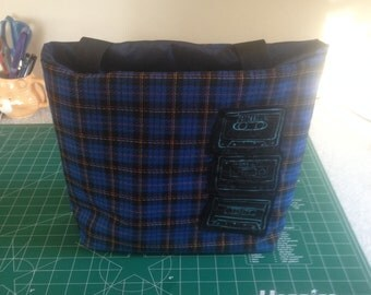 Cassette tape blue plaid purse - unique, durable, one of a kind 80s 90s retro mix tape