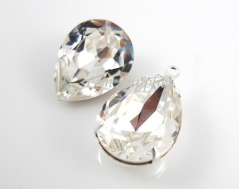 4320 CRYSTAL 14x10mm Swarovski Crystal Clear Pear Fancy Stone, 2pieces or 10 pieces
