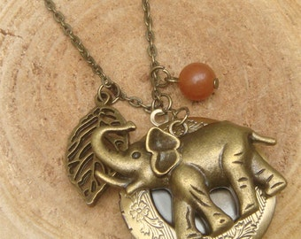Antique Brass Elephant Leaf Jade Locket Necklace Victorian Jewelry Gift Vintage Style