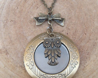 Antique Brass Owl Locket Necklace Victorian Jewelry Gift Vintage Style