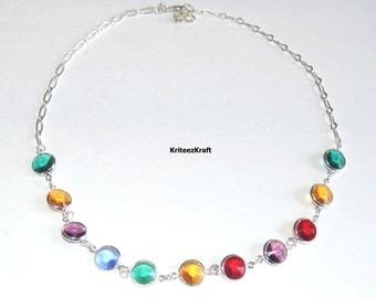 Multicolored Swarovski crystal Necklace