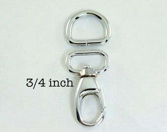 10 sets - 3/4 Inch (inside wide) Swivel Clips with Matching D Ring in Silver Finish