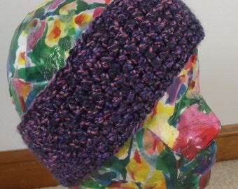 Crochet Ear Warmer Headband Soft Purple Pink Ladies Teens Winter Ski Thick Warm Boucle Yarn