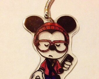 Disney  Mickey Hipster KeyChain Necklace Charms