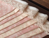 Vintage Inspired Pink and Cream Lace Bunting - Reversible Flag Pennant Garland - Home Decor
