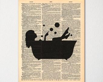 Bathroom Dictionary Art Print / Powder Room Decor / Silhouette Print / Ladies Room
