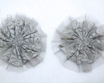 "3.75"" Grey Lace Tulle Flower 2 Pieces"