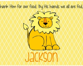 Personalized Placemat - Kids Placemat - Childrens Placemat - Childs Placemat - Laminated Placemat - Baptism Gift - Christening Gift - Lion