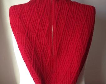 Handmade Red Infinity Scarf, 100% Wool