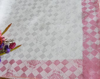 Vintage Tablecloth, Pink Tablecloth, White Tablecloth, Rose Tablecloth, Floral Tablecloth, 1950s Tablecloth, Pink Table Topper