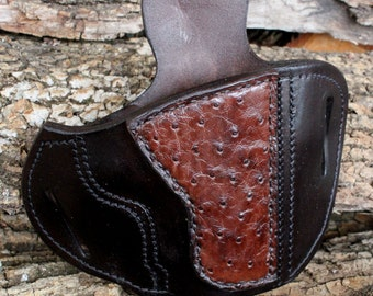 Custom Leather Holster 1911 Officers Compact with Ostrich Quill