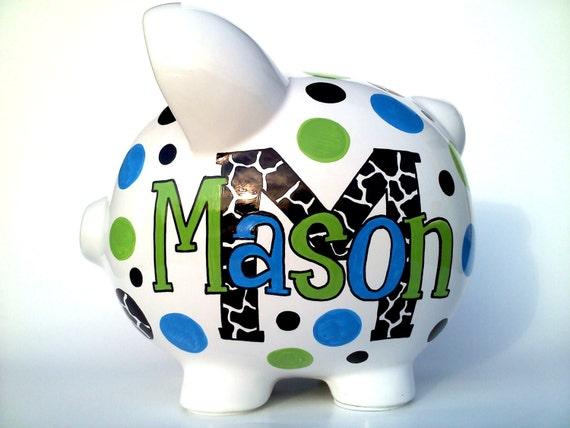 Monogram giraffe print piggy bank ceramic hand painted - Extra large ceramic piggy bank ...