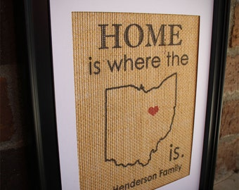 State Burlap Print , Home is Where the Heart is STATE and Family Name Print, Burlap Wall Art , ANY STATE Available