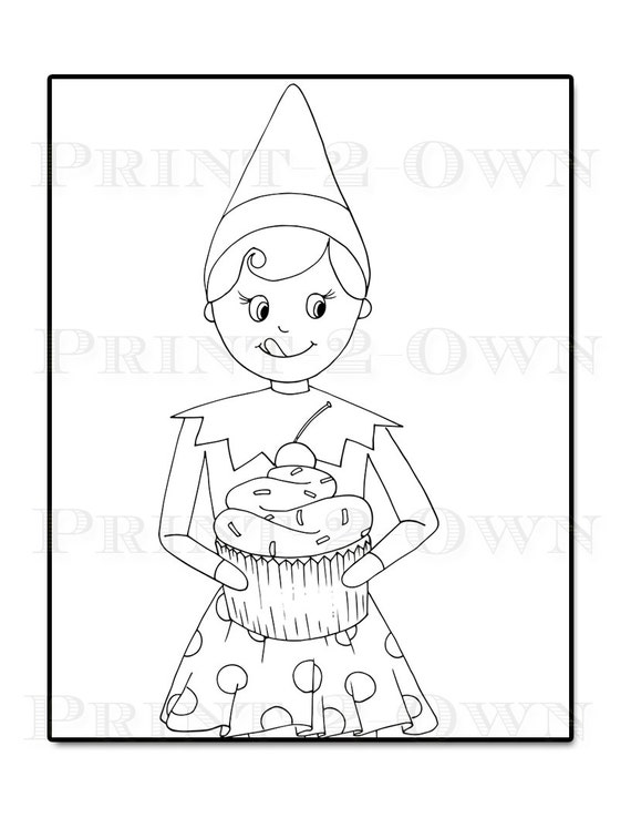 Elf Coloring Pages Pdf : Items similar to elf on the shelf christmas coloring