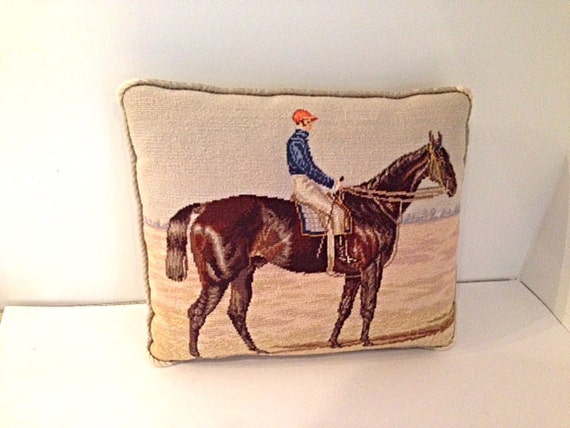Vintage Needlepoint Pillow with Racehorse Motif