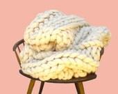 Super Chunky Knit Merino Blanket, Queen Size 60 x 80, Chunky Wool Blanket, Chunky Blanket, Giant Knitting, Extreme Knitting, Bulky Blanket