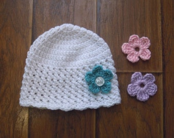 Crocheted Baby Beanie with 3 flowers