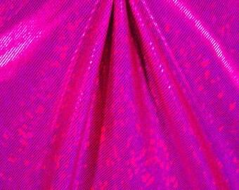 Stretch Fabric - Shattered Glass Hologram  Fuchsia/Berry Four way Stretch Spandex Fabric 1/8, 1/4, 1/2 Yard Cut Item# RXPN-MF1954