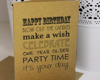Handmade Happy Birthday Card - A6 Brown Card - Cute Card