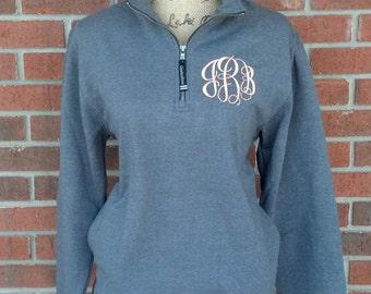 Charcoal Monogrammed Quarter Zip Sweatshirt with Pockets