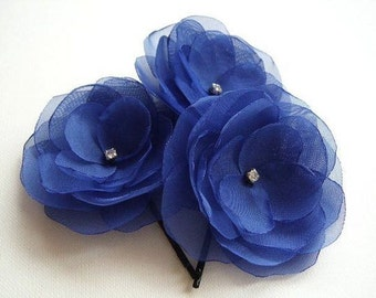 Sapphire Hair Flowers  Blue Boutonniere Rhinestones Wholesale Discount Price Blue Bridesmaids Blue Hair Clips Blue Shoe Clips Blue Lapel Pin