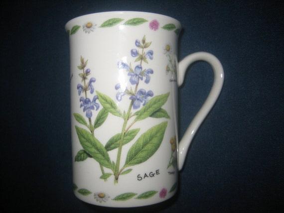 Porcelain Kent Pottery England Coffee Mug Tea Cup Floral Herb
