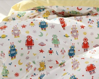Oxford Cotton Fabric Robot White By The Yard