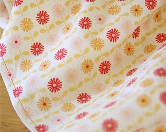 Cotton Fabric Daisy Red By The Yard
