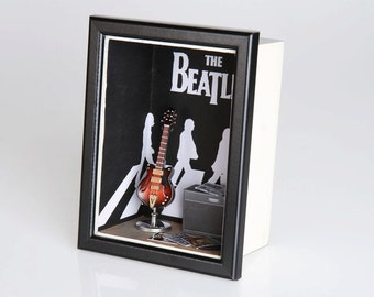 Beatles miniature room, shadow box, Beatles 3d