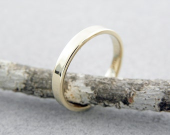 Wedding rings.2.5 x 1.2mm.14k yellow gold wedding ring in shiny finish.Hand forged wedding rings.FREE SHIPPING.