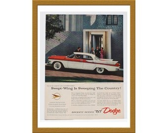 """1957 Dodge Swept Wing 57 Car Color Print AD / Unleashes a hurricane of power / 10"""" x 13"""" / Original Advertisement / Buy 2 ads Get 1 FREE"""
