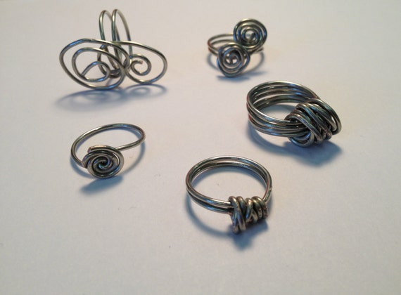 Silver-plated wire wrapped rings