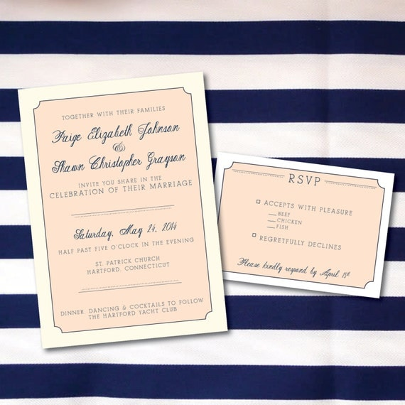 Traditional Wedding Invitation & RSVP Card And Optional