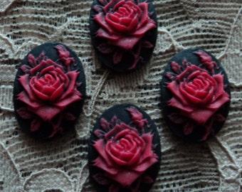 18x13 red rose on black resin cameos 4 pcs