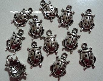 Pewter antique silver ladybug charms pendants 12 pieces