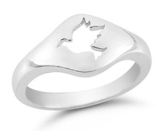 Silver Dove Ring, Dove Cutout Ring, Silver Peace Ring, Peace Cutout Ring, Peace Ring, Peace Sign Ring, Silver Ring