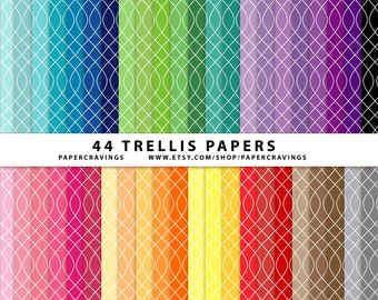 """Trellis Digital Paper Pack 12"""" x 12"""" Commercial and Personal Use Allowed - rainbow printable 44 sheets trellis INSTANT DOWNLOAD"""