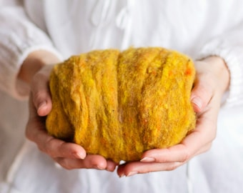 Wool Batting for needle felting or wet felting - 1 oz. Mustard, a dark yellow gold - Harrisville Fleece