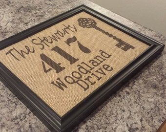 Framed Burlap Print - Address with Key - Customizable - Personalized - Custom - Wedding - Anniversary - Housewarming Gift - 8x10