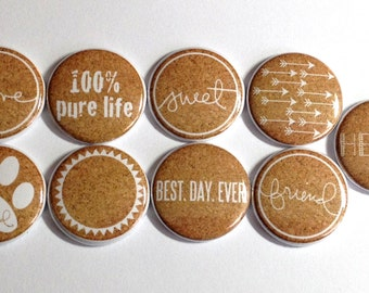 9 piece Everyday Sayings Cork Styled Flat Back Button Flair Set