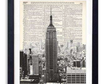 Empire State Building Black & White Upcycled Dictionary Print Repurposed Book Print Recycled Dictionary Page - Buy 2 Get 1 FREE