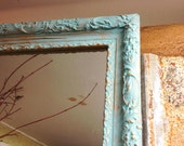 LARGE WALL MIRROR, Shabby Chic, Annie Sloan Blue Chalk Paint Ornate Bathroom Living Room Wall Hanging/ Leaning Mantle Mirror
