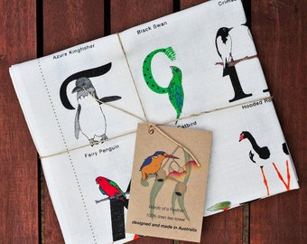 100% linen tea-towel inspired by Australian birds and Typography