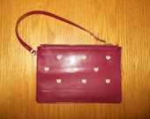 Burgundy Leather pouch, leather wallet, small purse, leather purse with heart, burgundy woman purse, woman purse, pouch with heart, purse.