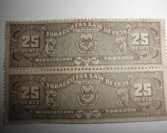 Tobacco Stamp Mississippi 25c Tax Virtue Amis inprinted from the 1930's