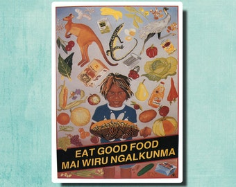 Eat Good Food by Leonie Lane - 1987 - Australia - Vintage Poster SG2735