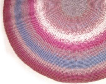 """Multicolor Large Round Crochet Rug Bedroom Rug Kitchen Rug Livingroom Rug  47"""""""